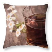 Chamomile Tea Retro Throw Pillow by Jane Rix