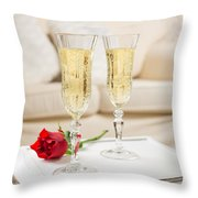 Champagne And Rose Throw Pillow