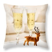 Champagne At Christmas Throw Pillow