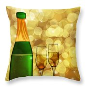 Champagne Bottle And Two Glass Flutes Throw Pillow