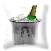Champagne Bottle On Ice Throw Pillow