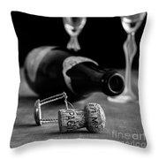 Champagne Bottle Still Life Throw Pillow
