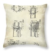 Champagne  Cork Extractor And Wire Cutter Patent Drawing Throw Pillow
