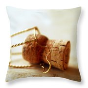 Champagne Cork Throw Pillow