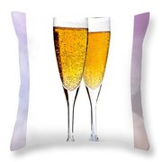 Champagne In Glasses Throw Pillow