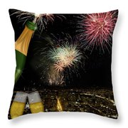 Champagne Toast With San Francisco Skyline At Night Throw Pillow