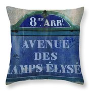 Champs-elysees Sign Throw Pillow