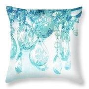 Chandelier Crystals In Aqua Throw Pillow