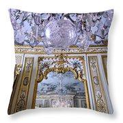 Chandelier Inside Chateau De Chantilly Throw Pillow