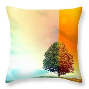Change Of The Seasons - The Moment When Summer Meets With Fall Throw Pillow