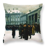 Changing Of The Guard At Amalienborg Palace Throw Pillow