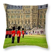 Changing Of The Guard In Front Of Parliament Building In Ottawa- Throw Pillow