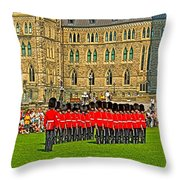 Changing Of The Guard In Front Of The Parliament Building In Ottawa-on Throw Pillow