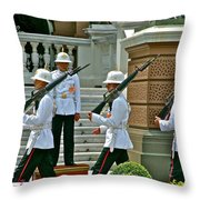 Changing Of The Guard Near Reception Hall At Grand Palace Of Thailand In Bangkok Throw Pillow