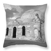 Chania Mosque Crete Black  And White Throw Pillow