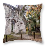 Chapel Of Ease Ruins And Mausoleum St. Helena Island South Car Throw Pillow