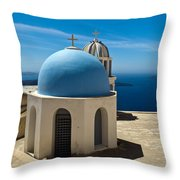 Chapel On Santorini Throw Pillow