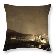 Chapel On The Rock Stary Night Portrait Monotone Throw Pillow by James BO  Insogna