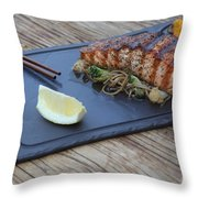 Char Grilled Salmon Throw Pillow