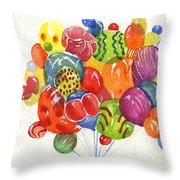 Characters In Balloon Throw Pillow