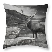 Charcoal Drawing Image Red Deer Stag In Moody Dramatic Mountain Sunset Landscape Throw Pillow