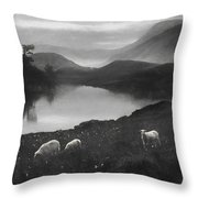 Charcoal Drawing Image Sheep In Field At Sunrise Landscape With Mountains And Lake In B Throw Pillow