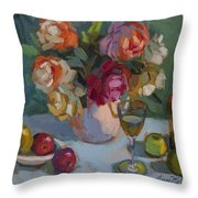 Chardonnay And Roses Throw Pillow