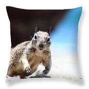 Charging Ground Squirrel Throw Pillow