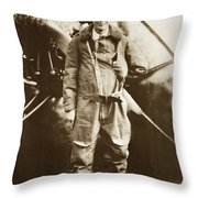 Charles A. Lindbergh And Spirit Of St. Louis May 12 1927 Throw Pillow