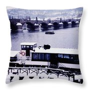 Charles Bridge In Winter Throw Pillow