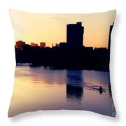 Charles River Rower At Dawn Throw Pillow by Kenny Glotfelty