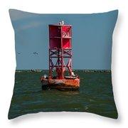Charleston Harbor Buoy Throw Pillow