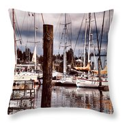 Charleston Marina At The End Of The Day Throw Pillow