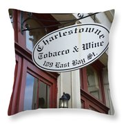 Charleston Tobacco And Wine Sign Throw Pillow