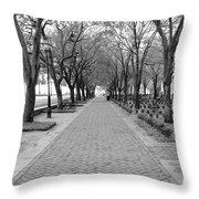 Charleston Waterfront Park Walkway - Black And White Throw Pillow