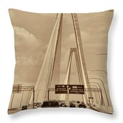 Charleston's Magnificent Cable Bridge In Sepia Throw Pillow