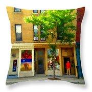 Charlevoix And Notre Dame Little Antique Shops St Henri Art Montreal Street Scene Carole Spandau Throw Pillow