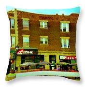 Charlevoix Pizza Et Chic Regal Rue Centre Scenes De Rue Pointe St Charles City Scenes Carole Spandau Throw Pillow