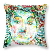 Charlie Chaplin - Watercolor Portrait Throw Pillow