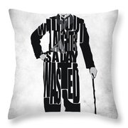 Charlie Chaplin Typography Poster Throw Pillow by Ayse Deniz