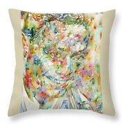 Charlie Parker Watercolor Portrait Throw Pillow
