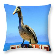 Charlie The Pelican Throw Pillow