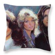 Charli's Angels Kate Jackson Farrah Fawcett Jaclyn Smith Throw Pillow