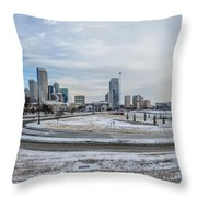 Charlotte North Carolina Skyline In Winter Throw Pillow
