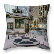 Charlotte Queen City Skyline Near Romare Bearden Park In Winter Snow Throw Pillow