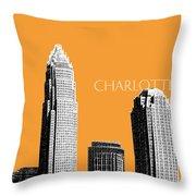 Charlotte Skyline 2 - Orange Throw Pillow