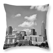 Charlotte Skyline In Black And White Throw Pillow