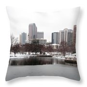Charlotte Skyline In Snow Throw Pillow