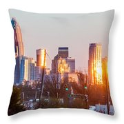 Charlotte Skyline In The Evening Before Sunset Throw Pillow