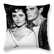 Charlton Heston And Marina Berti Throw Pillow